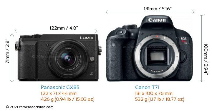 Panasonic GX85 vs Canon T7i Camera Size Comparison - Front View