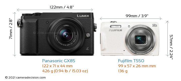 Panasonic GX85 vs Fujifilm T550 Camera Size Comparison - Front View