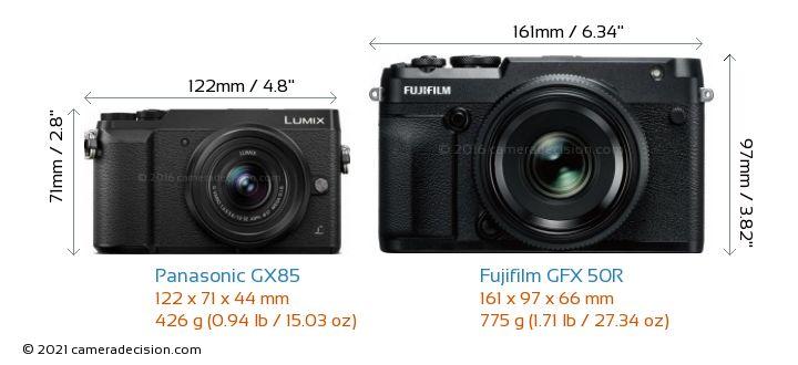 Panasonic GX85 vs Fujifilm GFX 50R Camera Size Comparison - Front View