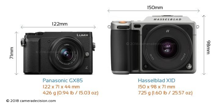 Panasonic GX85 vs Hasselblad X1D Camera Size Comparison - Front View