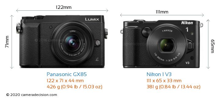 Panasonic GX85 vs Nikon 1 V3 Camera Size Comparison - Front View