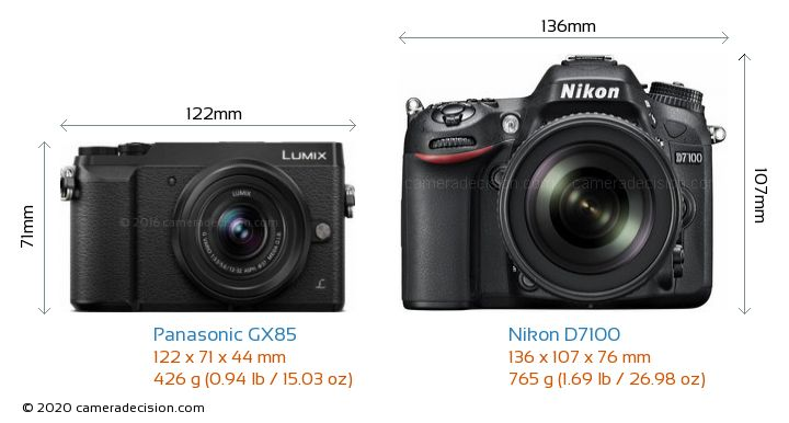 Panasonic GX85 vs Nikon D7100 Camera Size Comparison - Front View