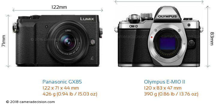 Panasonic GX85 vs Olympus E-M10 II Camera Size Comparison - Front View