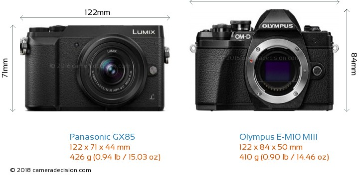 Panasonic GX85 vs Olympus E-M10 MIII Camera Size Comparison - Front View