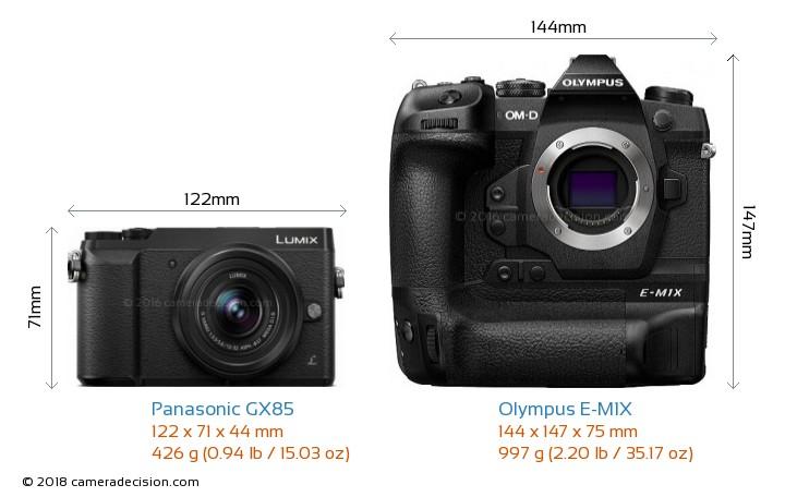 Panasonic GX85 vs Olympus E-M1X Camera Size Comparison - Front View