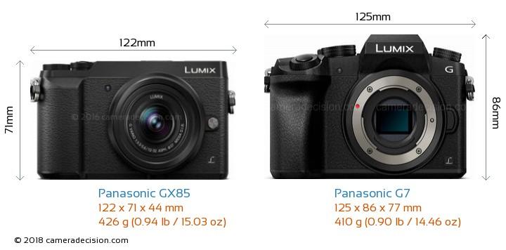Panasonic GX85 vs Panasonic G7 Camera Size Comparison - Front View