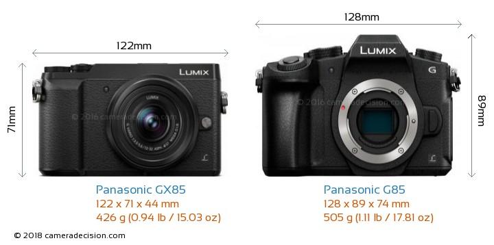 Panasonic GX85 vs Panasonic G85 Camera Size Comparison - Front View