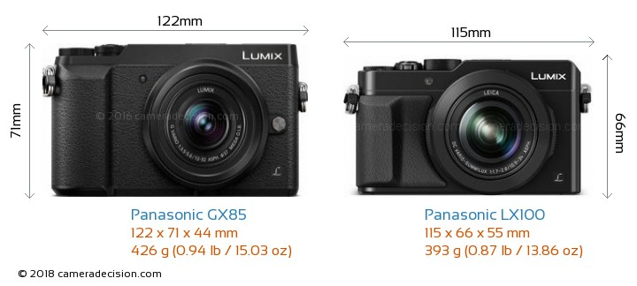 Panasonic GX85 vs Panasonic LX100 Camera Size Comparison - Front View