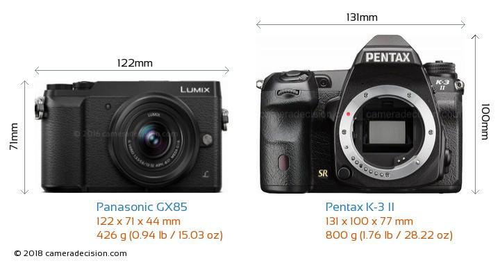 Panasonic GX85 vs Pentax K-3 II Camera Size Comparison - Front View