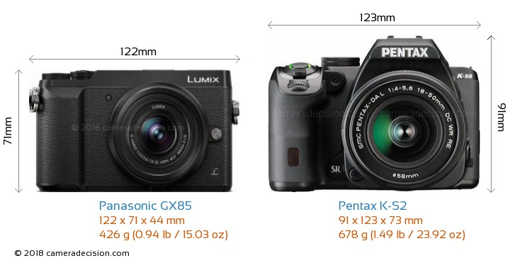 Panasonic GX85 vs Pentax K-S2 Camera Size Comparison - Front View