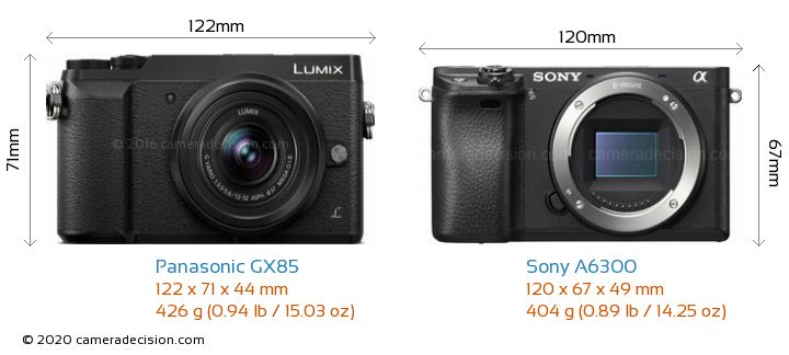 Panasonic GX85 vs Sony A6300 Camera Size Comparison - Front View