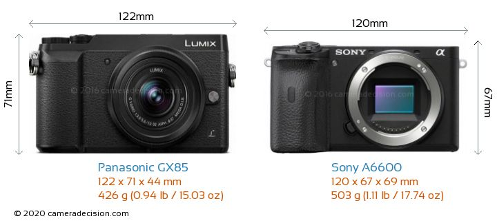 Panasonic GX85 vs Sony A6600 Camera Size Comparison - Front View
