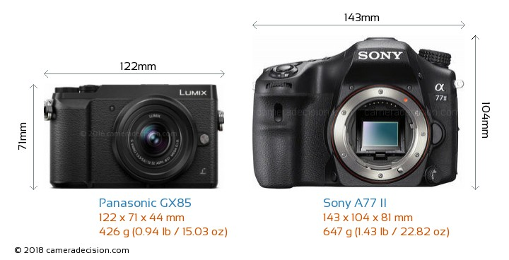 Panasonic GX85 vs Sony A77 II Camera Size Comparison - Front View