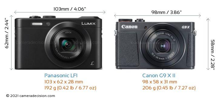 Panasonic LF1 vs Canon G9 X II Camera Size Comparison - Front View