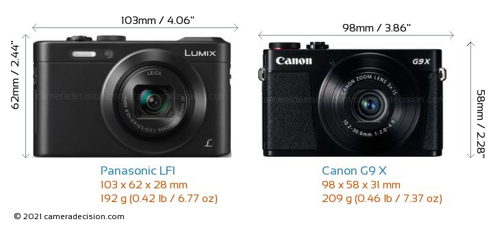 Panasonic LF1 vs Canon G9 X Camera Size Comparison - Front View