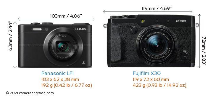 Panasonic LF1 vs Fujifilm X30 Camera Size Comparison - Front View