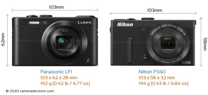 Panasonic LF1 vs Nikon P340 Camera Size Comparison - Front View