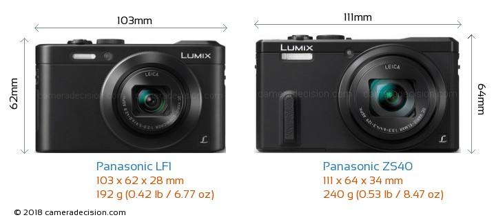 Panasonic LF1 vs Panasonic ZS40 Camera Size Comparison - Front View