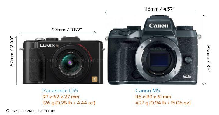 Panasonic LS5 vs Canon M5 Camera Size Comparison - Front View