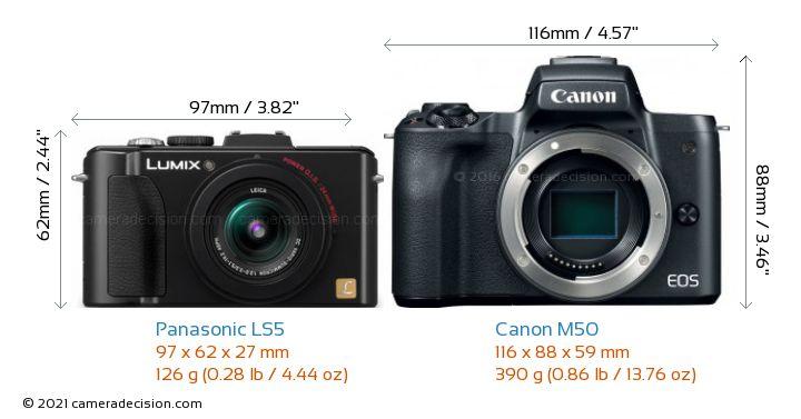 Panasonic LS5 vs Canon M50 Camera Size Comparison - Front View
