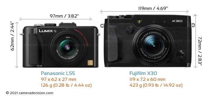 Panasonic LS5 vs Fujifilm X30 Camera Size Comparison - Front View