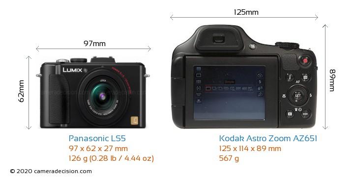 Panasonic LS5 vs Kodak Astro Zoom AZ651 Camera Size Comparison - Front View