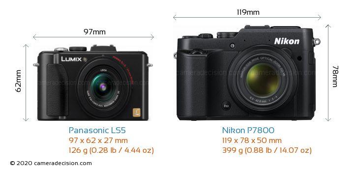 Panasonic LS5 vs Nikon P7800 Camera Size Comparison - Front View