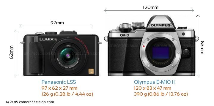 Panasonic LS5 vs Olympus E-M10 II Camera Size Comparison - Front View