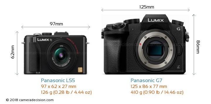 Panasonic LS5 vs Panasonic G7 Camera Size Comparison - Front View