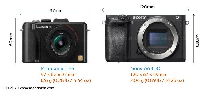 Panasonic LS5 vs Sony A6300 Camera Size Comparison - Front View