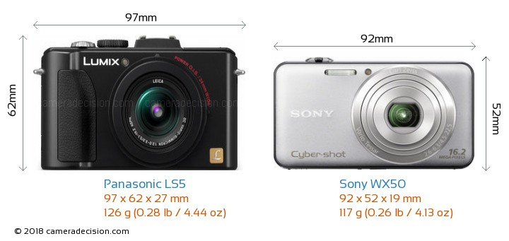 Panasonic LS5 vs Sony WX50 Camera Size Comparison - Front View