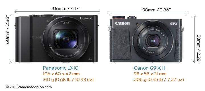 Panasonic LX10 vs Canon G9 X II Camera Size Comparison - Front View
