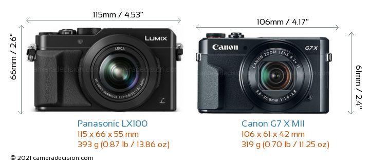 Panasonic LX100 vs Canon G7 X MII Camera Size Comparison - Front View