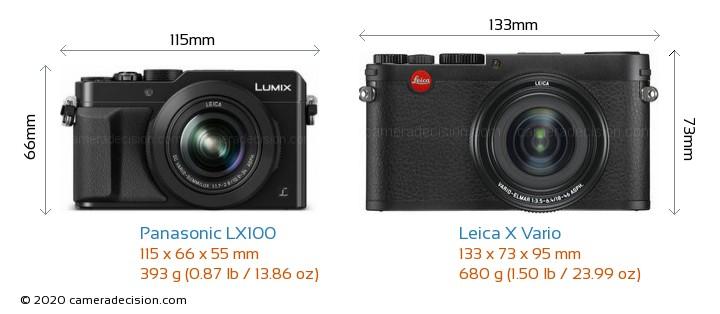 Panasonic LX100 vs Leica X Vario Camera Size Comparison - Front View