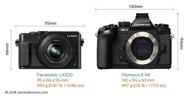 Panasonic LX100 vs Olympus E-M1 Camera Size Comparison - Front View