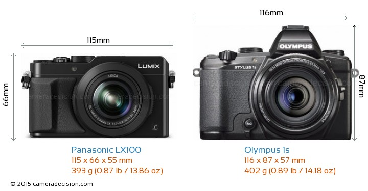 Panasonic LX100 vs Olympus 1s Camera Size Comparison - Front View
