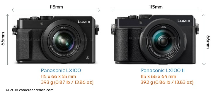 Panasonic LX100 vs Panasonic LX100 II Camera Size Comparison - Front View