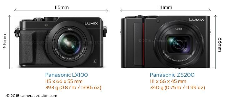 Panasonic LX100 vs Panasonic ZS200 Camera Size Comparison - Front View