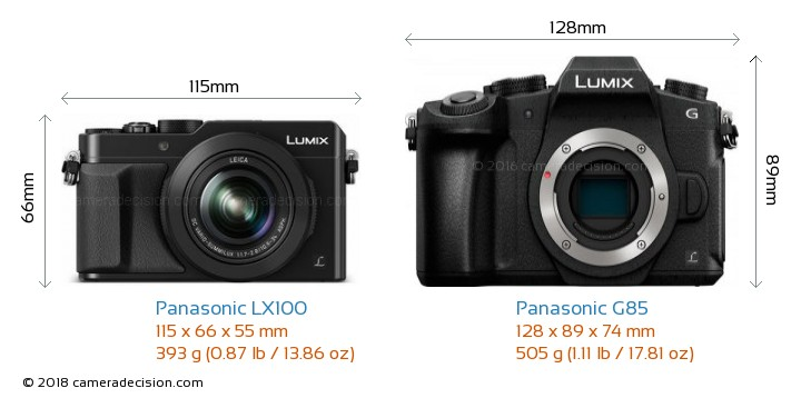 Panasonic LX100 vs Panasonic G85 Camera Size Comparison - Front View
