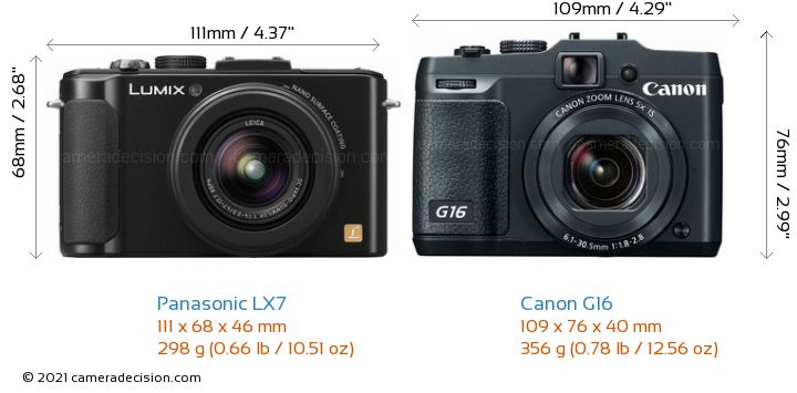 Panasonic LX7 vs Canon G16 Camera Size Comparison - Front View
