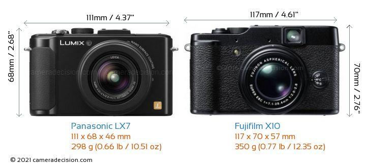 Panasonic LX7 vs Fujifilm X10 Camera Size Comparison - Front View