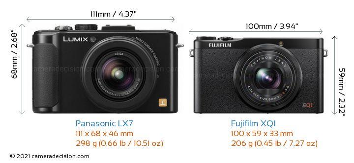 Panasonic LX7 vs Fujifilm XQ1 Camera Size Comparison - Front View