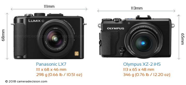 Panasonic LX7 vs Olympus XZ-2 iHS Camera Size Comparison - Front View