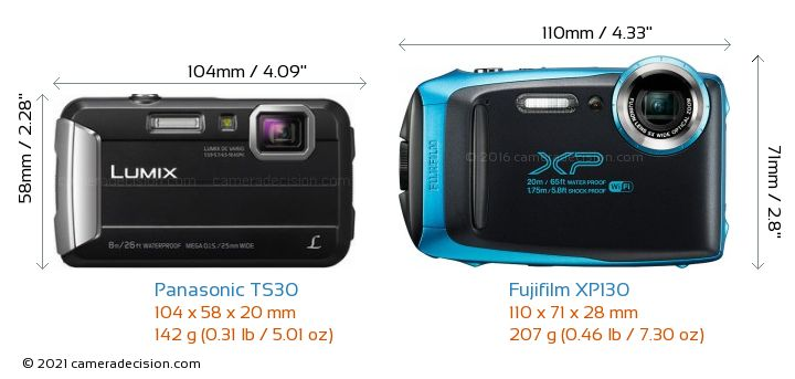 Panasonic TS30 vs Fujifilm XP130 Camera Size Comparison - Front View