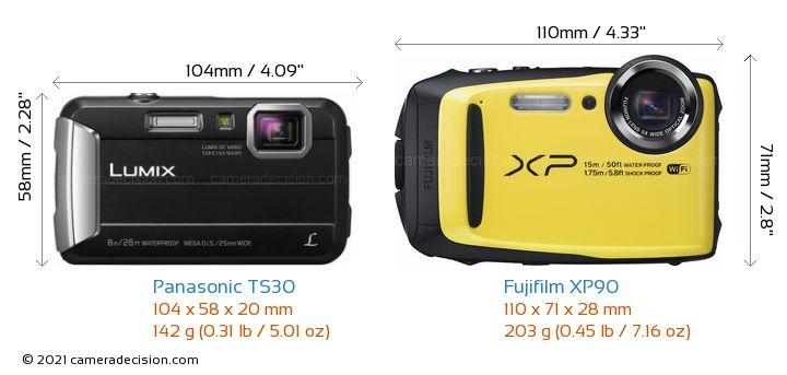 Panasonic TS30 vs Fujifilm XP90 Camera Size Comparison - Front View