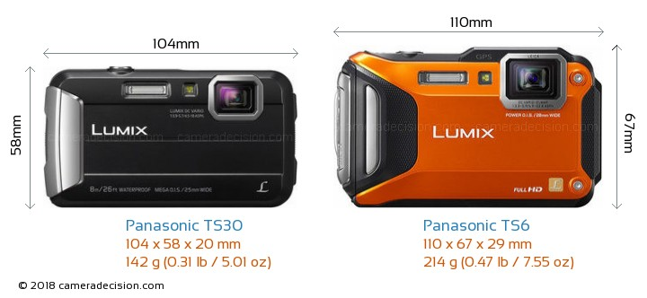 Panasonic TS30 vs Panasonic TS6 Camera Size Comparison - Front View