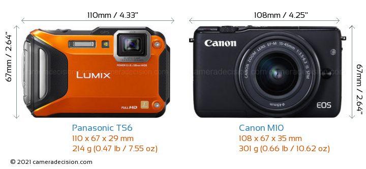 Panasonic TS6 vs Canon M10 Camera Size Comparison - Front View