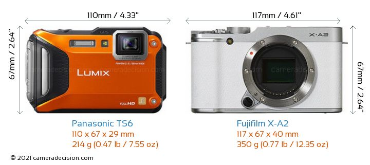 Panasonic TS6 vs Fujifilm X-A2 Camera Size Comparison - Front View