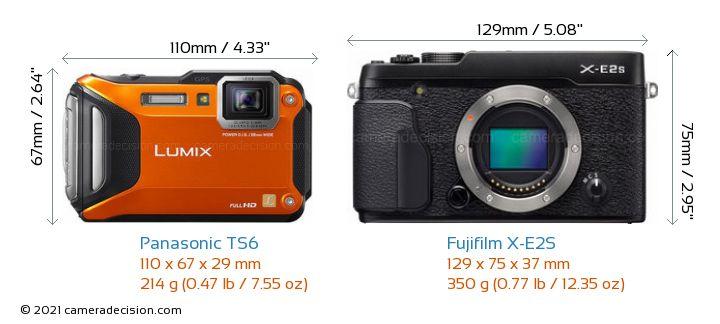 Panasonic TS6 vs Fujifilm X-E2S Camera Size Comparison - Front View