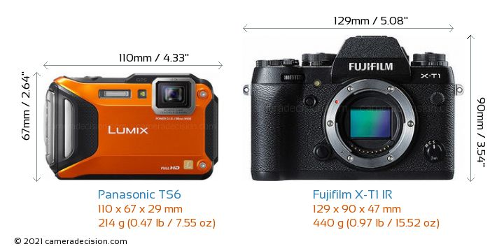 Panasonic TS6 vs Fujifilm X-T1 IR Camera Size Comparison - Front View